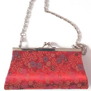 Handbags - Mini Red Satin Wristlet w/ Multi-Color Floral Bag